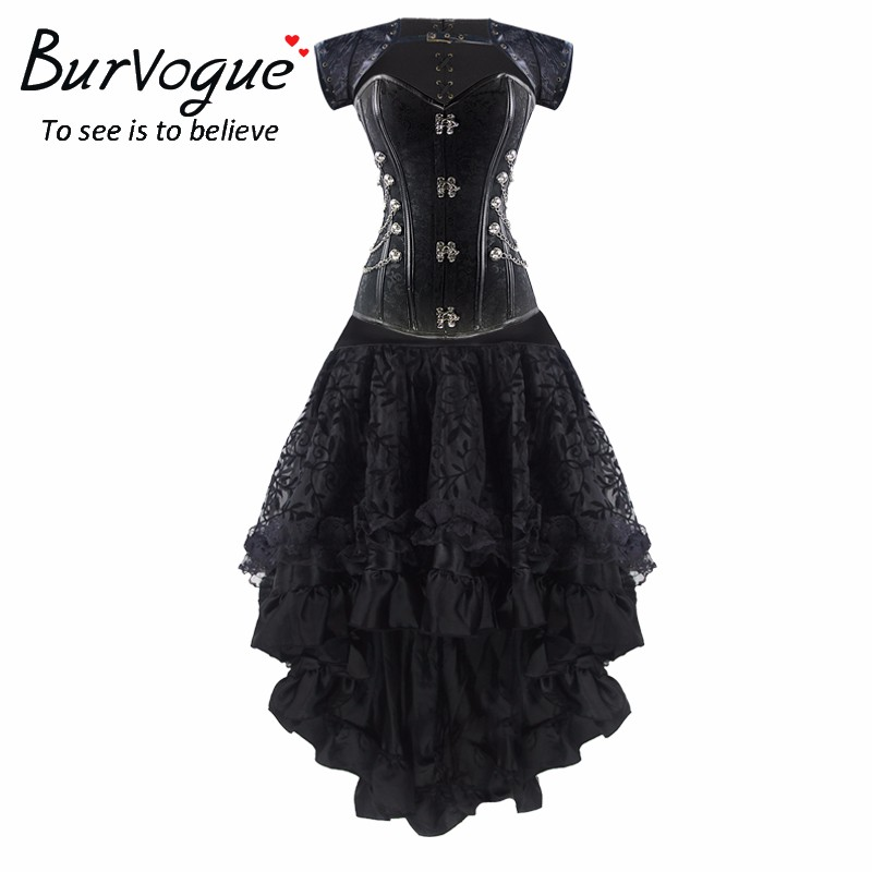 Burvogue Women's Gothic Lace Steampunk   Corset   Dress Waist Control   Bustiers   &   Corsets   Skirt Set Steampunk   Corset   Dress Clothing