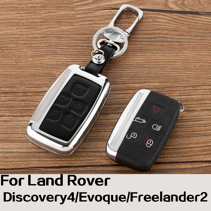 Ipoboo Brand New Zine-alloy Metallic Smart Remote Key Fob Shell Leather Button Case Cover For Land Rover Series