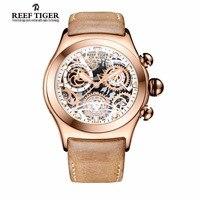 Rafa Tiger/RT Szkielet Dial Chronograph Zegarki Sportowe dla Mężczyzn z Datą Trzy Liczniki Złota Róża Świetlny Unikalne Zegarki RGA792