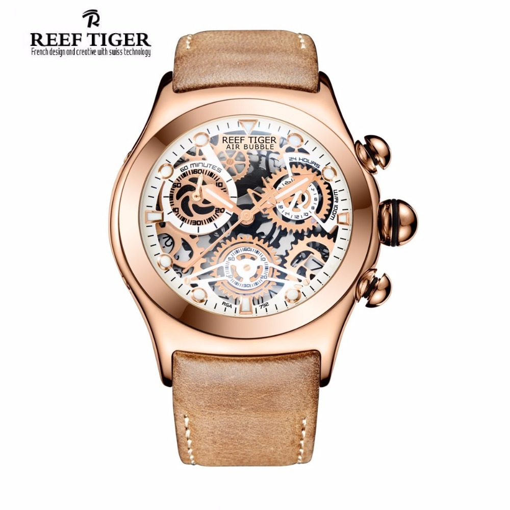Reef Tiger/RT Chronograph Sport Watches for Men Skeleton Dial with Date Three Counters Luminous Rose Gold Unique Watches RGA792 2x yongnuo yn600ex rt yn e3 rt master flash speedlite for canon rt radio trigger system st e3 rt 600ex rt 5d3 7d 6d 70d 60d 5d