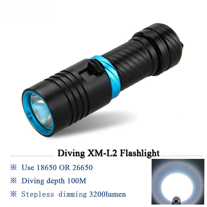 100M scuba flashlight led underwater flashlights diving torch light diver CREE XM-L2 rechargeable waterproof 18650 or 26650