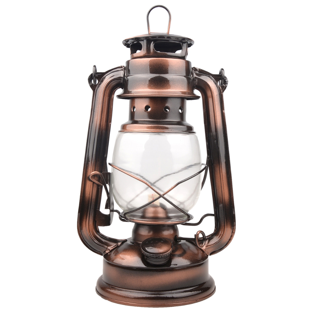 25cm Iron Antique Bronze Oil Lanterns (Cover) Nostalgisk Portabel Utomhus Camping Lampa Läck-Proof Seal Outdoor Camping Lights