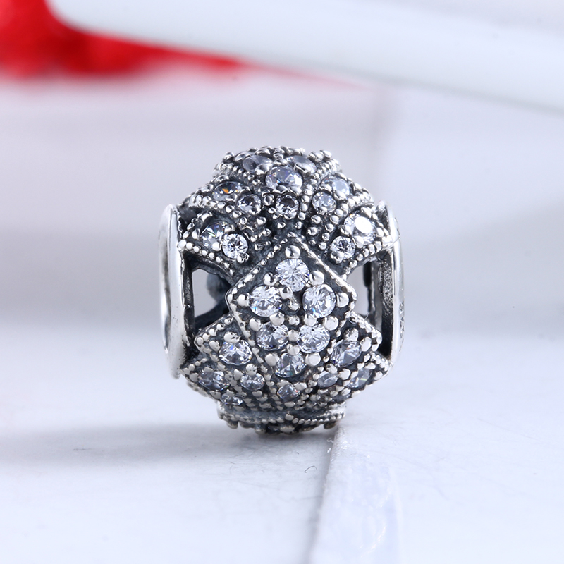100% Real 925 Sterling Silver Fit Original Pandora Bracelet Oriental Fan Charm Clear CZ Charms Beads for Jewelry Making Gift