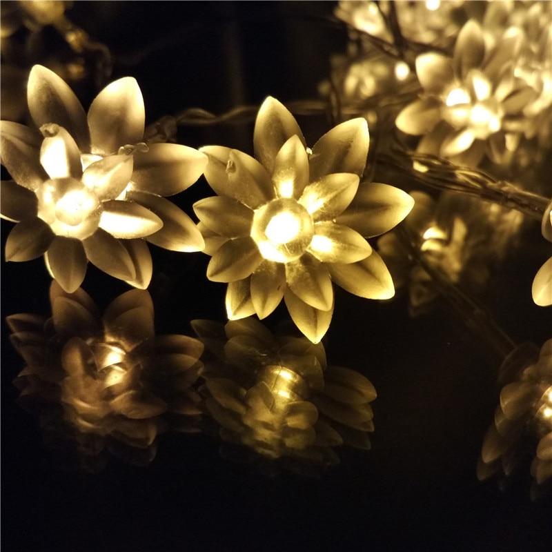 40LED 4M Battery Holiday Lotus LED String Lights led Xmas Decoration Strings for Garden Floral Lightings Karacsonyi LED-fuzerek