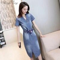 2018 New Summer dress women denim dresses jeans short sleeved with belt Hot 2018 fashion Package hip Slim dress Female CC483