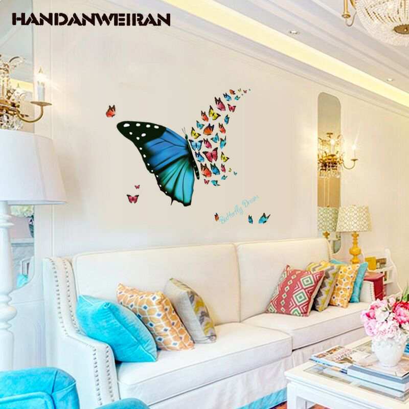 Big butterflyies stickers DIY personality butterfly wall sticker for family living room  ...
