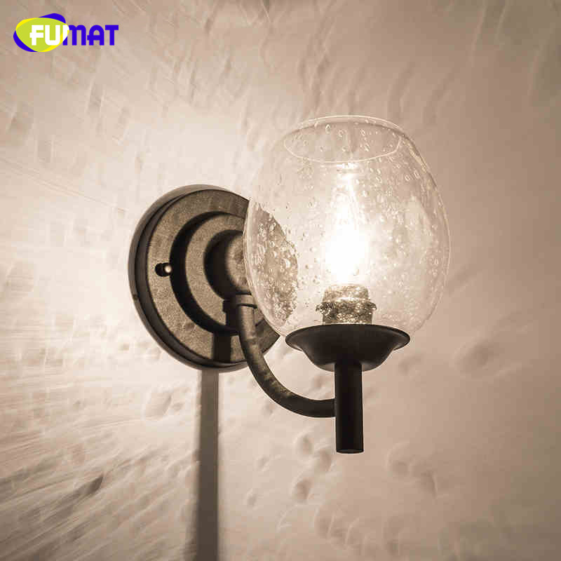 Loft Wall Lamp North European Vintage Glass Bubble Living Room Bar Clothes Store Wall Sconce LED Project Lights free shipping north european russian style brief living room wooden oak wall lamp
