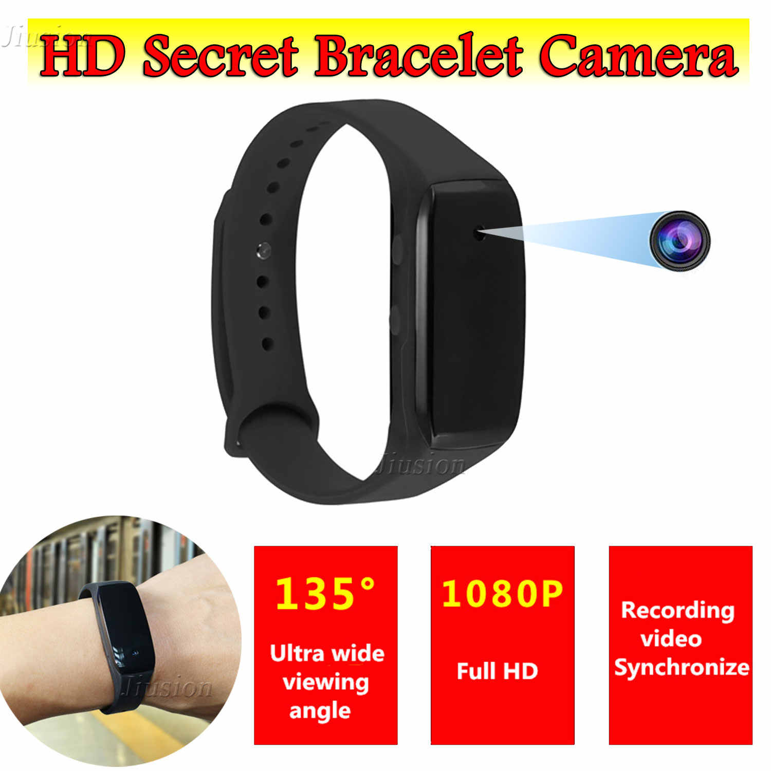 HD1080P Video Bracelet Camera Mini Secrect Invisible Camcorder 135 Degree Wide Angle Sport Wristband Recorder with Mic Micro Cam