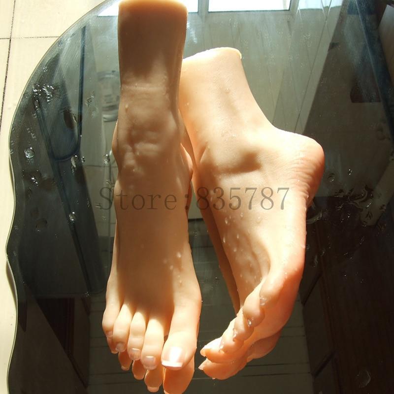 23cm 37 Silicone pussy fetish Fake Foot Inner Bone Inside Toe Move Freely Feet Shoe Model
