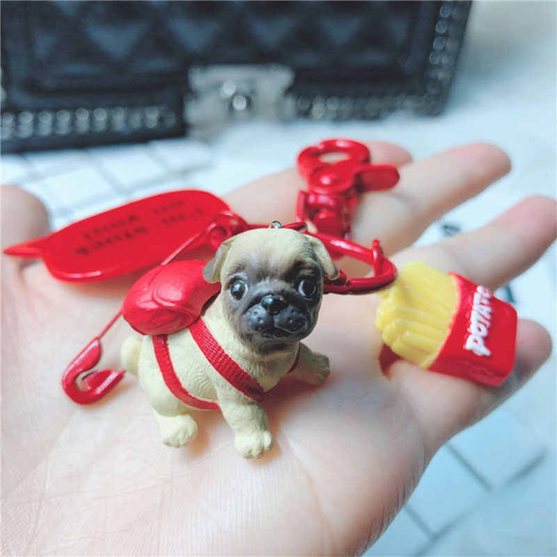 Mini Puppy Figure Toys Labrador Starling Chihuahua Corky Pink Dog Keychains For Bags Anime Figure PVC Toys For Car Keychain