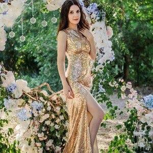 Image 5 - Ausverkauf ADLN Meerjungfrau Abendkleid mit Schlitz Pailletten Günstige Lange Prom Party Kleid Rose Gold/Grün/Burgund /schwarz/Rot/Blau