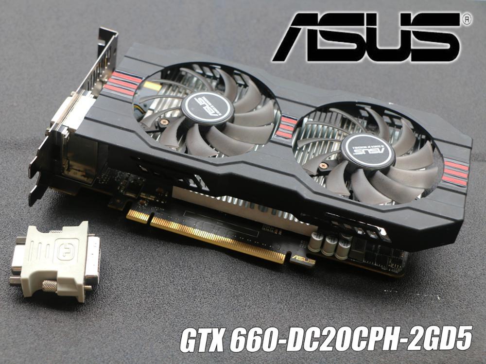 Original ASUS tarjeta de vídeo GTX 660 2 GB 192Bit GDDR5 tarjetas gráficas de nVIDIA Geforce GTX660 VGA más fuerte que GTX 750 Ti