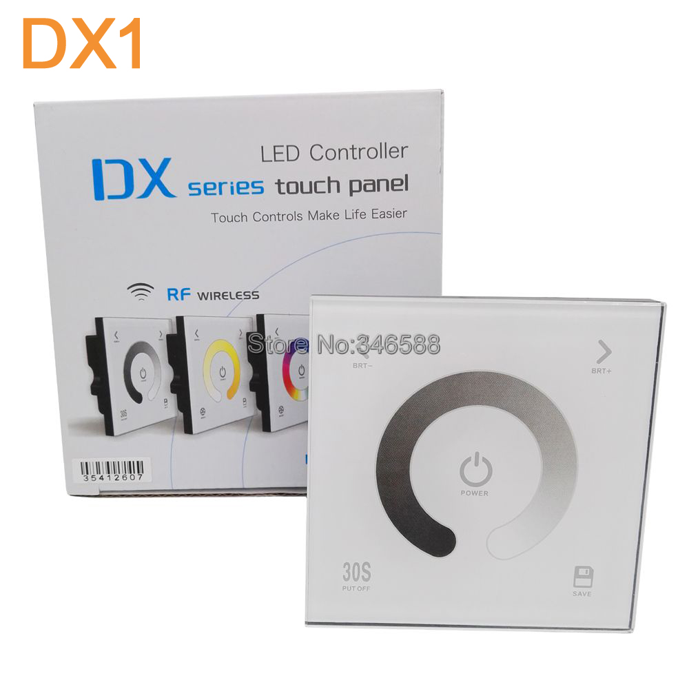 AC110V-240V DX1 Touch Panel Wall Mount 2.4G RF Wireless LED Sync Controller Dimmer DMX512 Signal Ouput for Single Color Strip dc12 24v d5 touch panel brightness adustable dimmer controller wall mount 4zones control dmx512 output for single color strip
