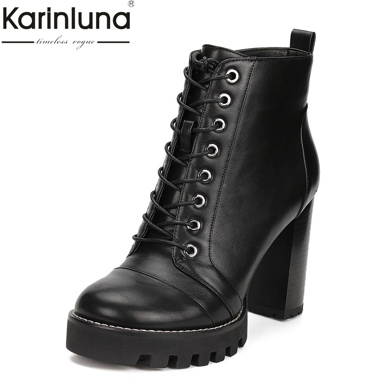 Karinluna Fashion Big Size 41 Chunky High Heels Ankle Boots Woman Shoes Lace Up Platform Shoes
