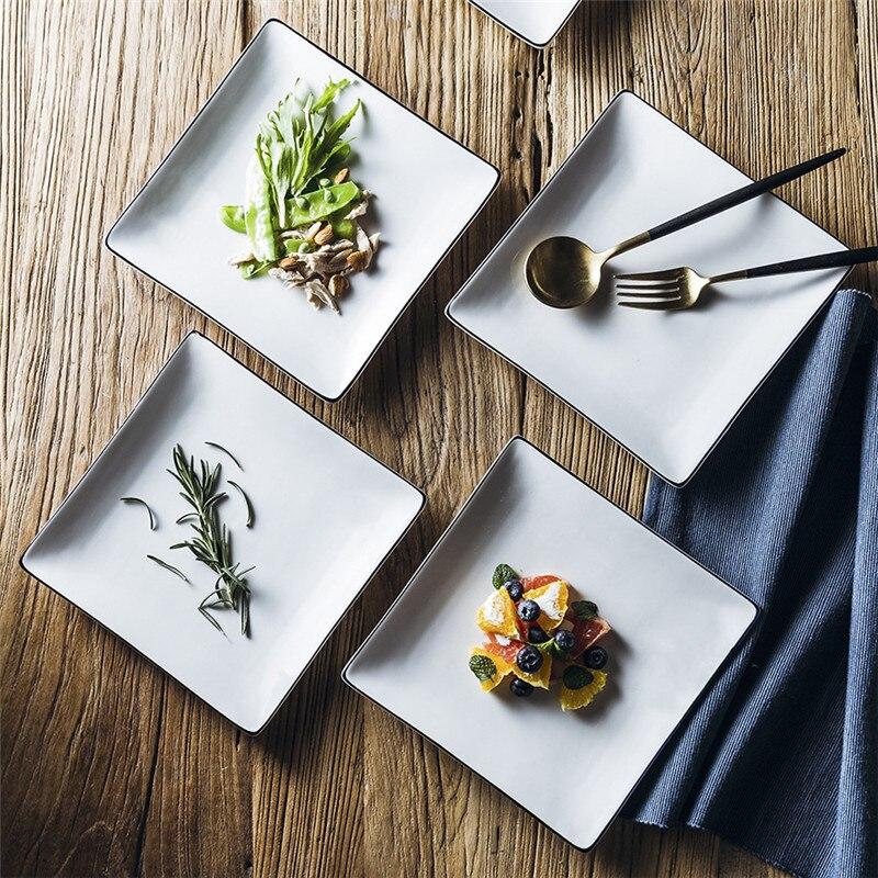 Assiette en céramique plateau assiettes carrées assiette de noël récipient de nourriture Restaurant occidental exquis plateau de nourriture plat blanc Assiett