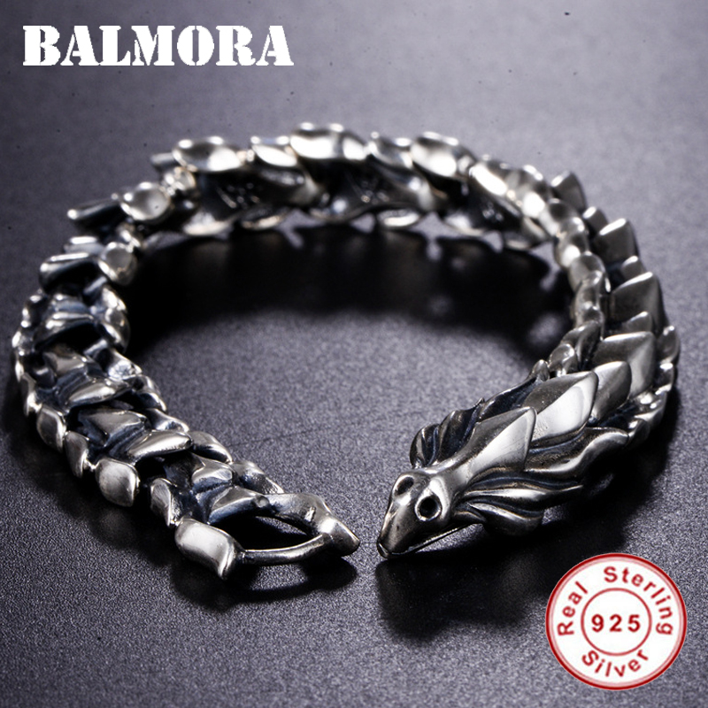 BALMORA Plata de Ley 925 100% auténtica cabeza de dragón escamas pulsera dominadora masculina unos 20cm joyería de moda Vintage JWB59082