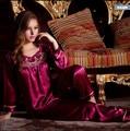Горячие Моды пижамы женщин Шелк Пижамы Устанавливает Элегантный Кружева Вышитые Женщина Атлас pijamas pijama mujer