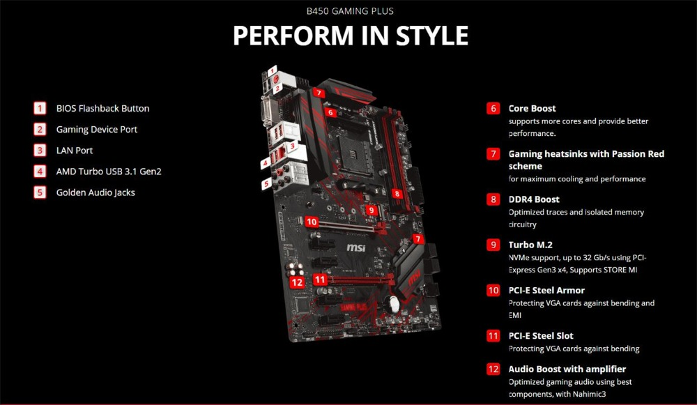 MSI B450 Gaming Plus Motherboard AMD Ryzen Socket AM4 ATX ssd m 2 sata Rams  ddr4 memory graphic card HDMI DVI-D port mianboard