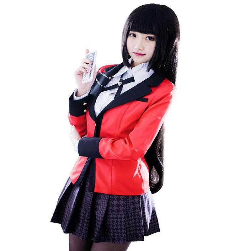 Anime Kakegurui Yumeko Jabami Cosplay Costume Japanese High School Uniform Halloween Party Cosplay Costumes For Women Girls