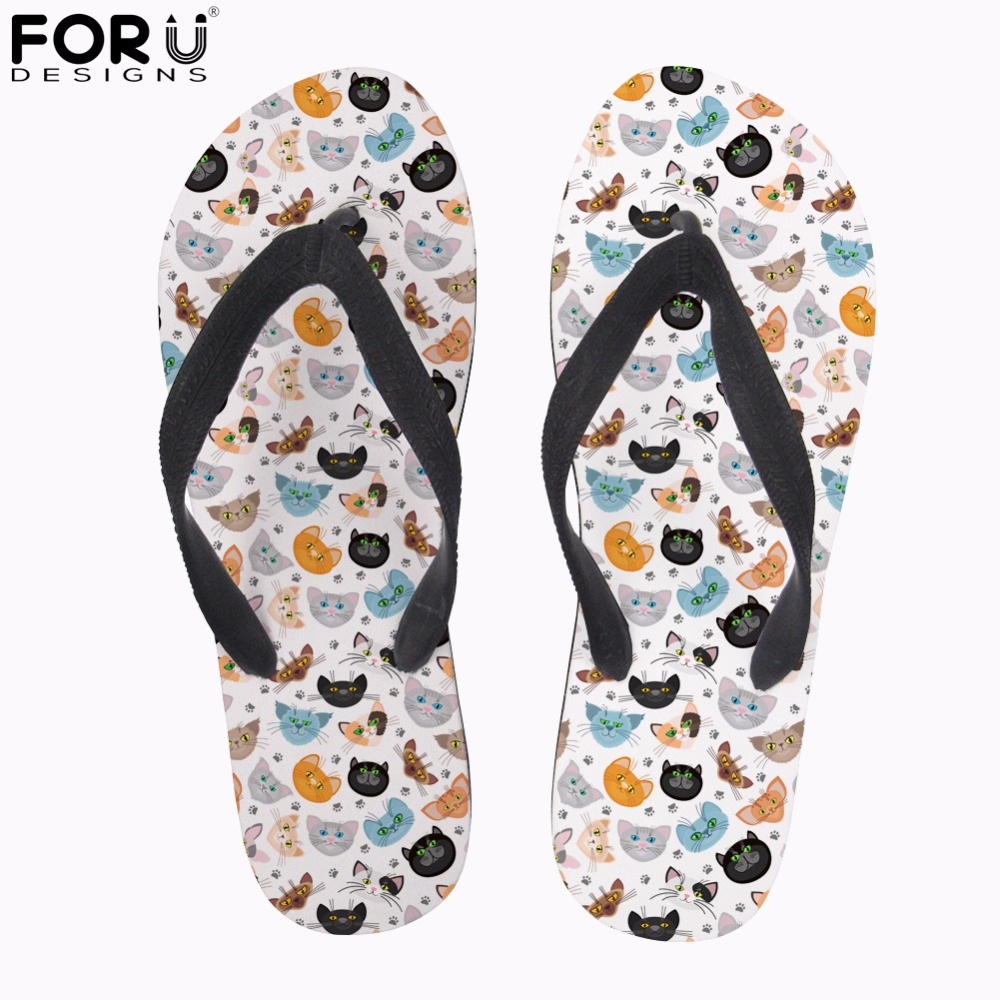 FORUDESIGNS Cute Animal Cartoon Cat Print Women Flip Flops Casual Slippers Women Flats Beach Sandals for Ladies Summer Flip Flop