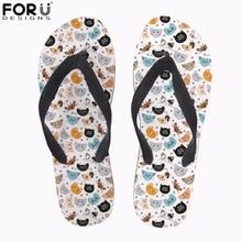 купить FORUDESIGNS Cute Animal Cartoon Cat Print Women Flip Flops Casual Slippers Women Flats Beach Sandals for Ladies Summer Flip Flop по цене 791.29 рублей