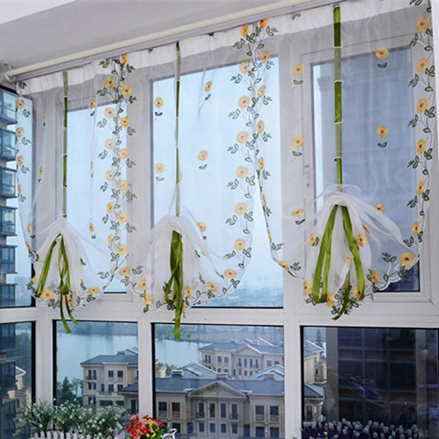 Us 7 95 Flower Curtains For Living Room 20 30 Light Shading Window Roman Shades Sheer Home Decor 1pc In From
