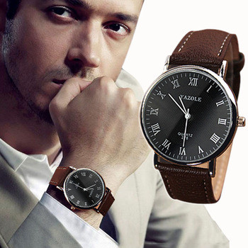 Wrist Watch Men Watches 2018 Quartz-watch Frosted Leather Male Casual Clock Wristwatch Blue Glass Hours Minutes  Dropship F529
