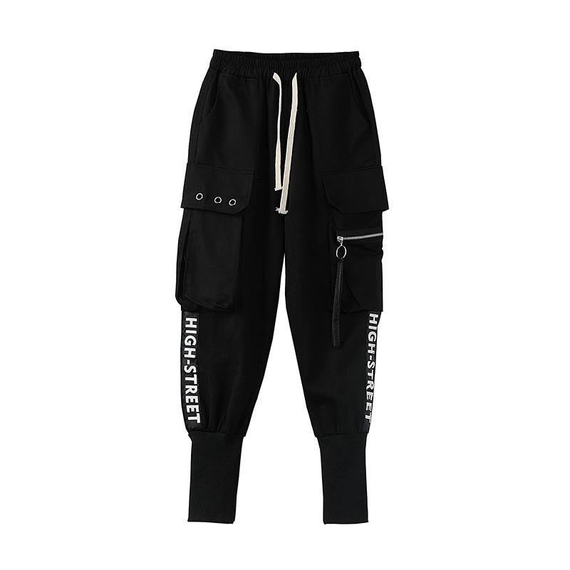 High waist   pants   black loose joggers women army harem camo   pants   streetwear punk black cargo   pants   women   capris   trousers females