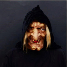 Griezelig Scary Halloween Heks Masker Latex Sneeuw Witte Heks Met Haar & Hood