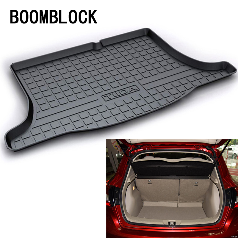 BOOMBLOCK For Nissan Tiida 2018 2017 2016 Waterproof Anti-slip Car Trunk Mat Tray Floor Carpet Pad Protector Auto Accessories boomblock for infiniti q50 q50l waterproof anti slip car trunk mat tray floor carpet pad protector auto accessories