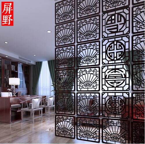 Chinese Hanging Room Dividers Private Dining Shield Plastic Parions Screen Decoration Mobile Suspension Folding Biombo In Screens