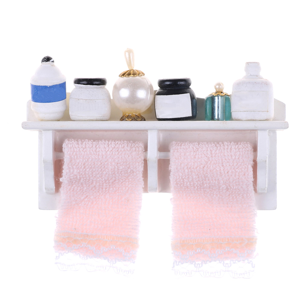 Aliexpress.com : Buy 1/12 Bathroom Set Towel Rack Makeup ...