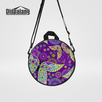 Dispalang Round Backpack For Girls Lady Flower Pattern Butterfly Print Crossbody Bag Women Messenger Bag Kids