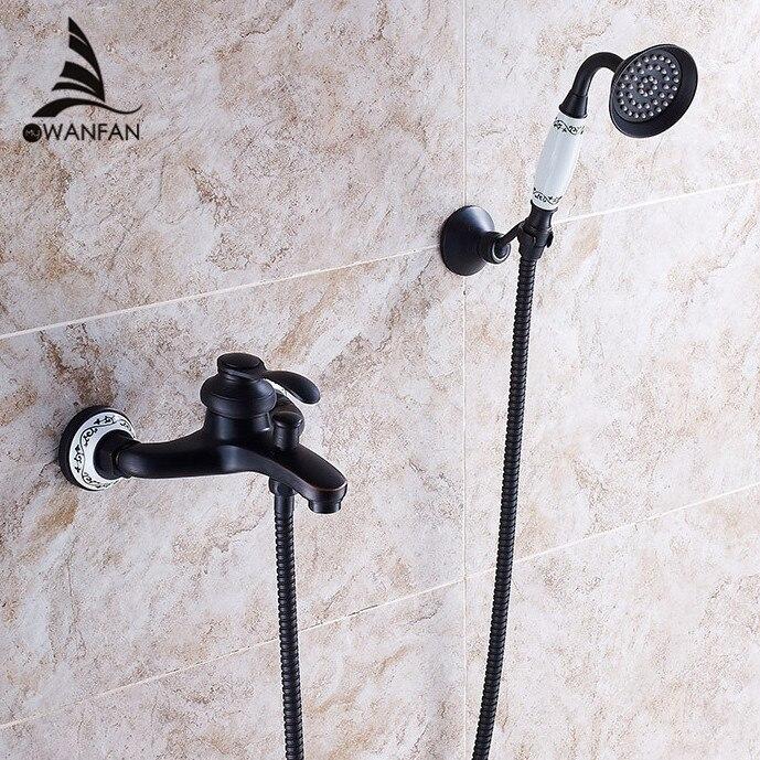 Vorsichtig Dusche Wasserhahn Schwarz Messing Wand Montieren Badewanne Wasserhahn Regen Dusche Handheld Einzigen Handgriff Luxus Keramik Bad Mischbatterie Sy-22r Dusch-ausstattung
