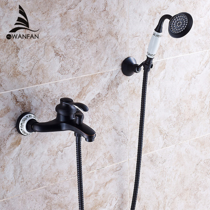 Shower Faucet Black Brass Wall Mount Bathtub Faucet Rain Shower Handheld Single Handle Luxury Ceramics Bathroom Mixer Tap SY-22R luxury bathroom rain shower faucet set antique brass handheld shower head two ceramics lever bathtub mixer tap ars003