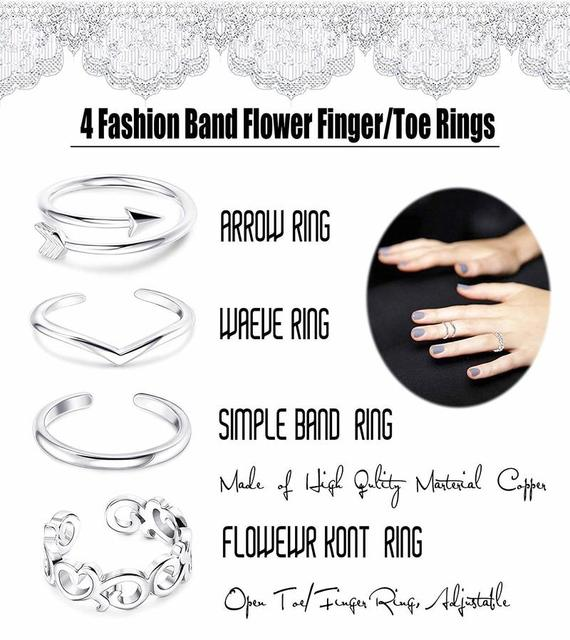 Summer Beach Vacation Knuckle Foot Ring Open Toe Rings Set for Women Girls Finger Heart Ring Adjustable Jewellery Wholesale 5