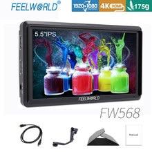 FEELWORLD FW568 5.5 inç IPS 4K kamera alan monitörü DSLR HDMI küçük Full HD 1920x1080 Video odak yardımı ile Tilt kolu