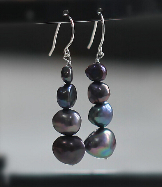 Baroque Natural Fresh Water Pearl Black And White Earrings