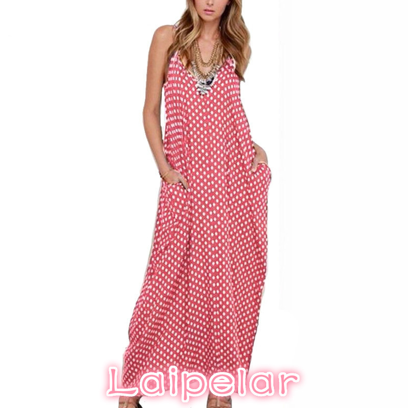 Summer Dress 2018 Fashion Women Dress Spaghetti Straps Polka Dot Loose Beach Long Maxi Dresses Vintage Vestidos Plus Size in Dresses from Women 39 s Clothing