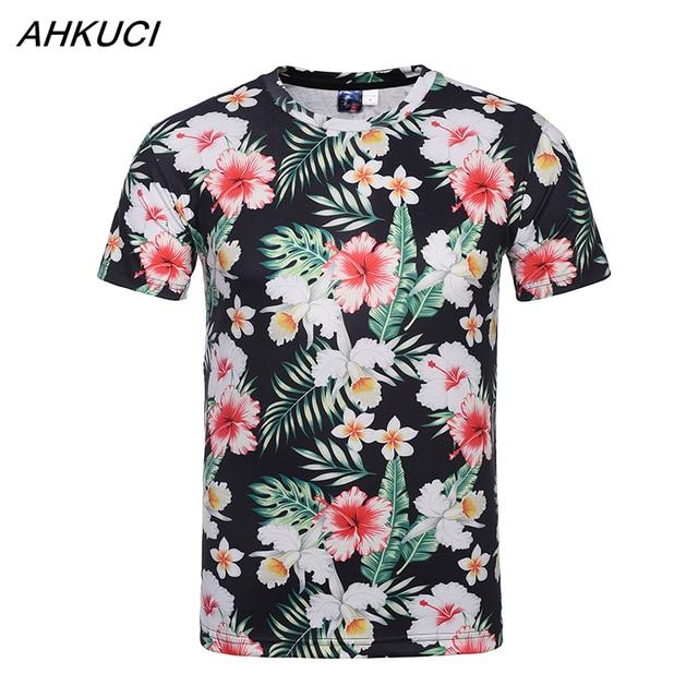 Ahkuci hawaiian 3d printed t shirt men spring summer for T shirt printing hawaii