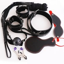 8pcs Leather Bondage Set Adult SM Games,Handcuff,Whip,Nipple Clamps,Mouth Gag,Eye Mask, Collar, Erotic BDSM Sex Toy for Couples цены