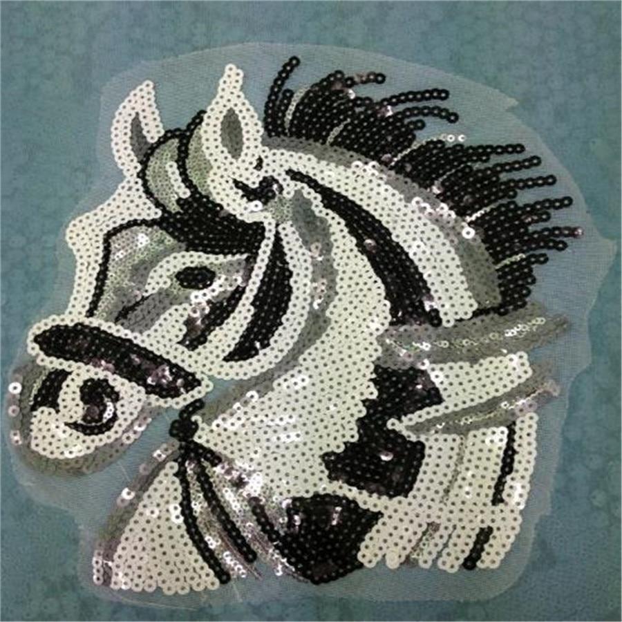 1pcs Fashion Designs 25cm Horse Logo Embroidered Patches Clothes Sequins Patch DIY Hotfix Motif Applique Free Shipping