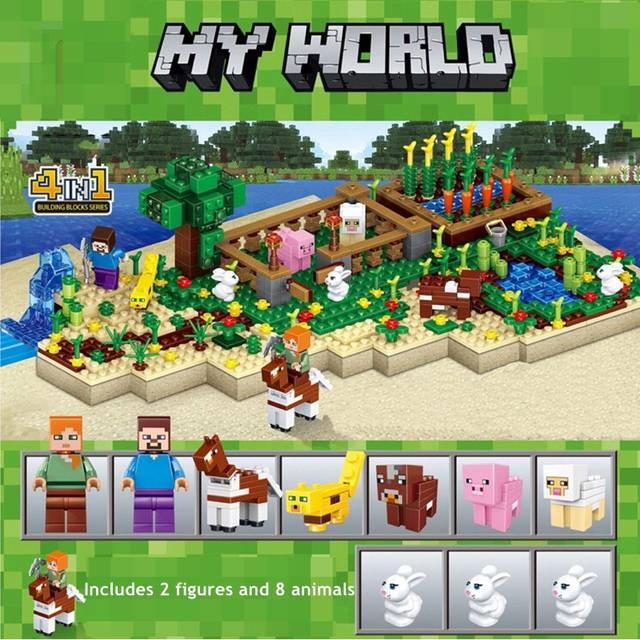 US $21 59 37% OFF|Minecraft Blocks Toys Dream Farm 4 in 1 Combined Scene My  World Figures Adventure Set LEGOing Minecraft Bricks Toys For Children-in