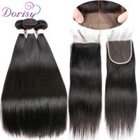 Dorisy Brazilian Straight Hair Human Hair Bundles With Closure 3 Bundles With Closure Natural Color Non