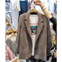 high quality Blazer Feminin Women Plaid Blazer Ol Style Slim Blazers And Jackets One Button Suit Girl Office Jacket Elegant