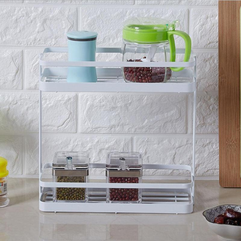 Kitchen Storage Shelf Bottles Flavoring Household Bathroom Organizer Storage Rack Tablew ...
