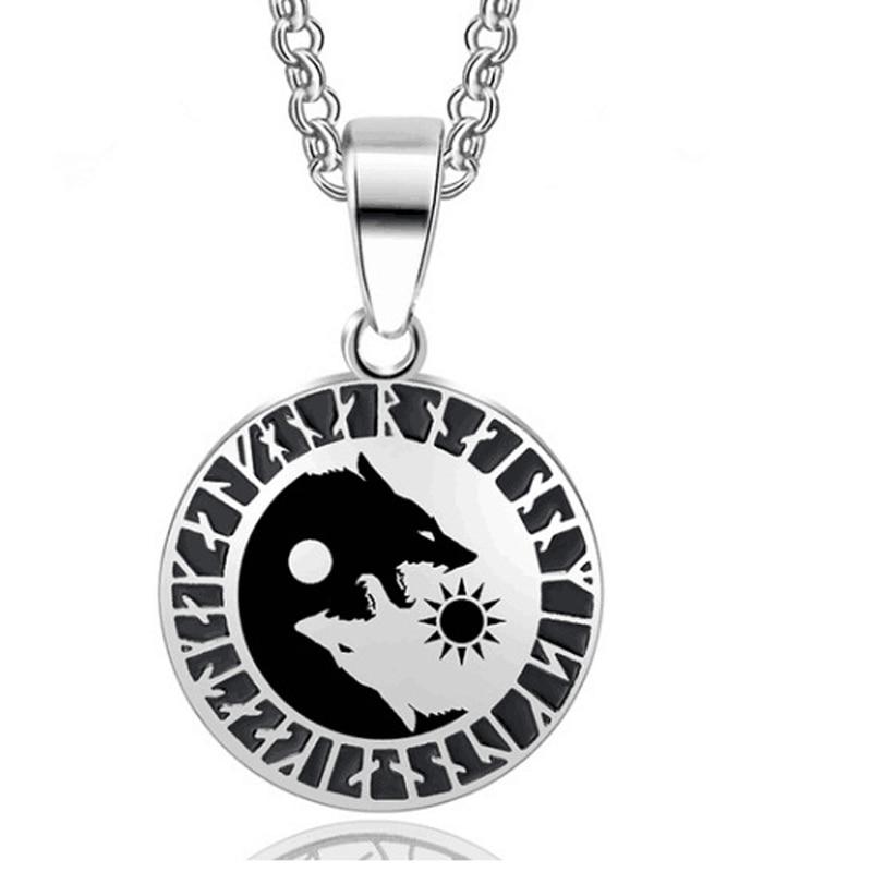 Wolf Head Sun Moon Viking Pendant Amulet Necklace Nordic Talisman Titanium Steel Norse Vikings