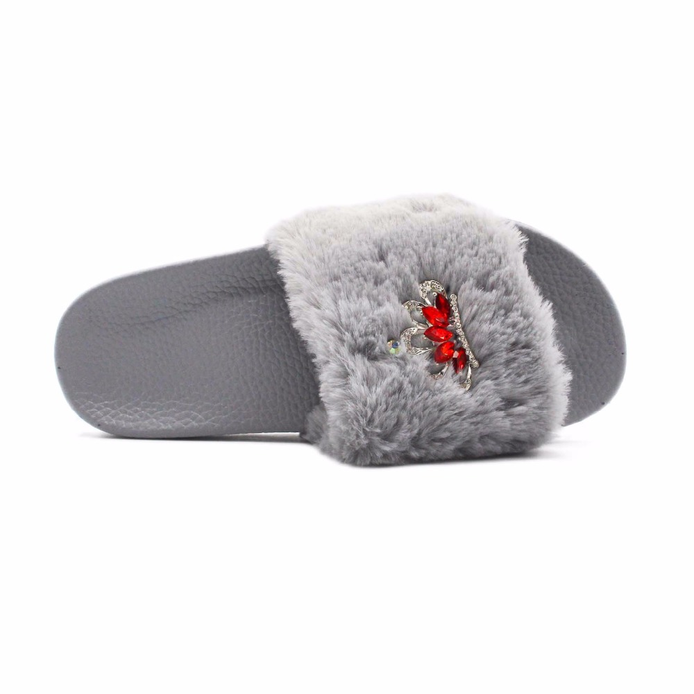 RASS PLE 2018 New Women Fluffy Fur Slippers Spring Summer Autumn Crown  Slippers Rhinestone Flip Flops Comfortable Flat Shoe-in Flip Flops from  Shoes on ... 03053cb6cab3