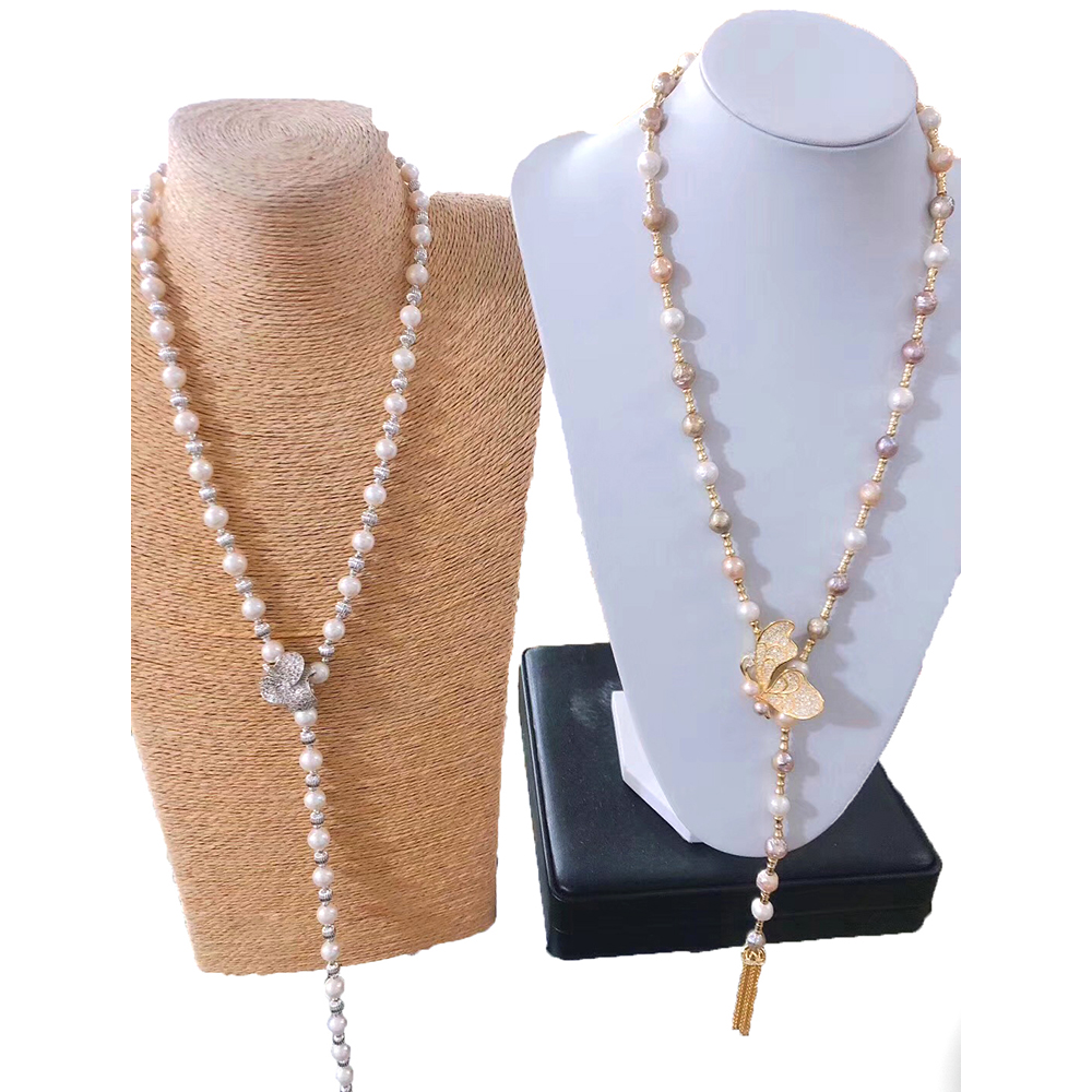 MADALENA SARARA AAA Freshwater Pearl Necklace White Pearl Necklace With Butterfly s925 ClaspMADALENA SARARA AAA Freshwater Pearl Necklace White Pearl Necklace With Butterfly s925 Clasp