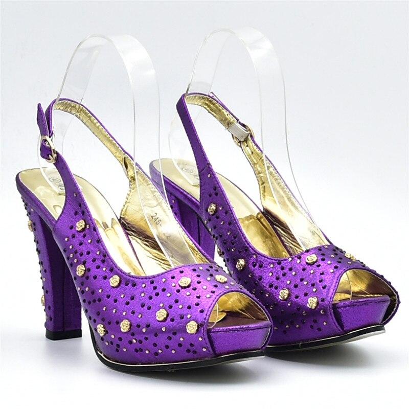 Sexy Mujeres Italianos Zapatos Partido El Bolsas fuchsia Para Último A rojo Juego Sliver Bombas negro oro Señora Las Y Decorado Diseño Con Bolsa En Rhinestone purple aFEqxTw